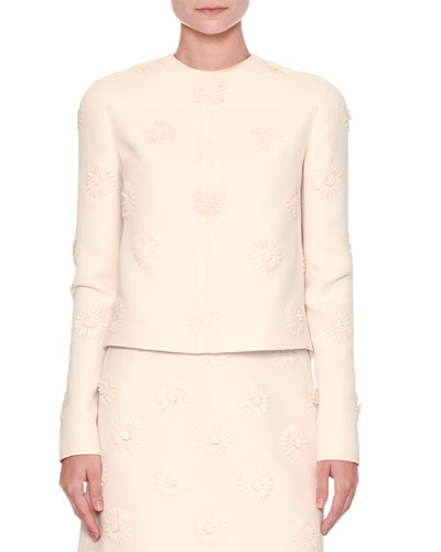 Long-Sleeve Daisy Couture Jacket, Ivory