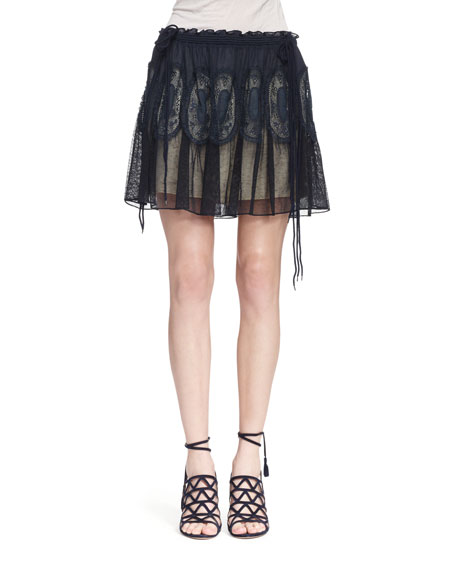 Chloe Tulle Lace Medallion Skirt, Navy