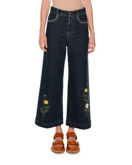 Nashville Studded Floral Culotte Jeans, Multicolor