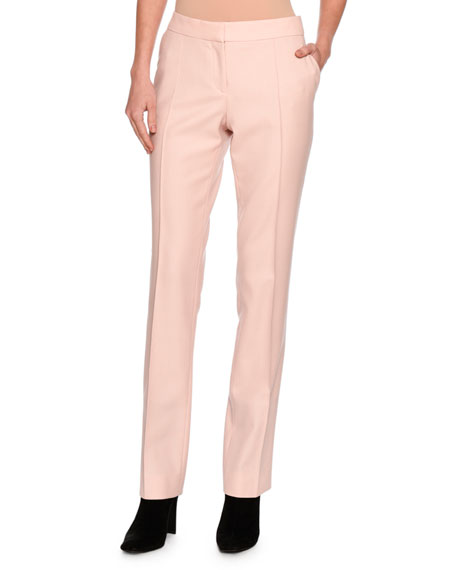 Anna Raised-Seam Straight-Leg Trousers