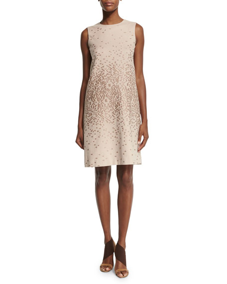 Agnona Sleeveless Textured Shift Dress, Cipria Beige