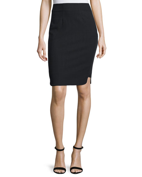 Pippa Textured-Side Pencil Skirt