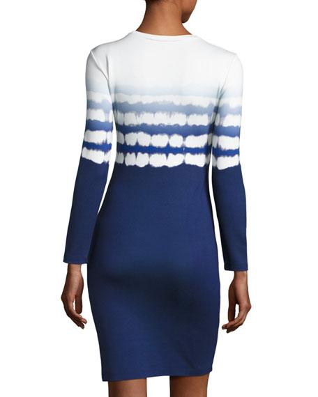 Printed Long-Sleeve Sheath Dress