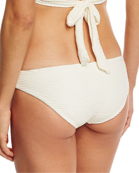 Luciana Patterned Hipster Swim Bottom, Beige