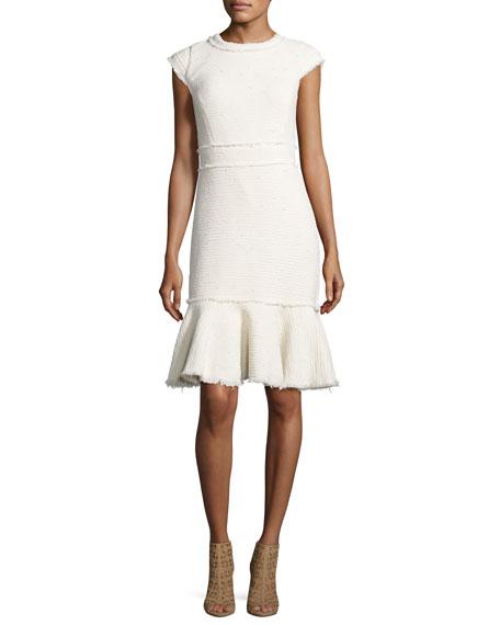 Rebecca Taylor Sparkle Cap-Sleeve Tweed Dress, Neutral