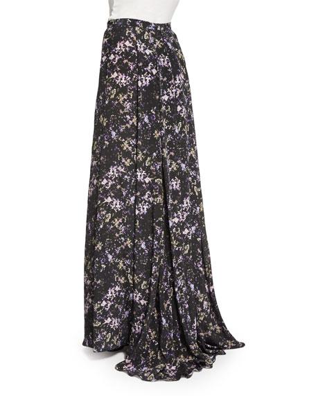 Harriet Long Pleated Printed Silk Skirt