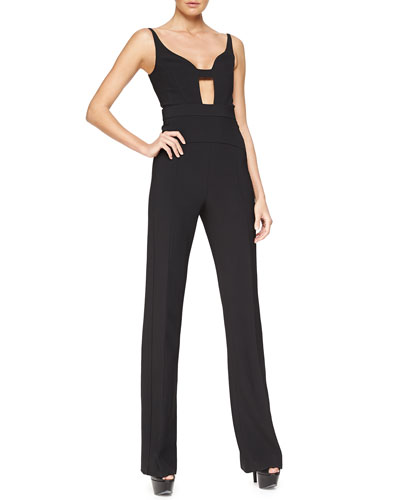 Sleeveless Cutout Scuba Crepe Jumpsuit