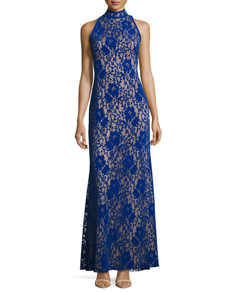 Sleeveless Velvet Floral Lace Gown, Blue