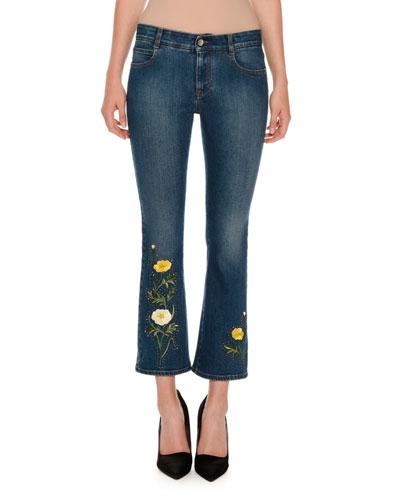 Nashville Floral Kick Flare Jeans, Dark Classic Blue