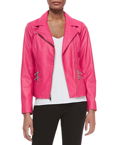 Leather Moto Jacket W/ Zip Pockets, Hot Pink