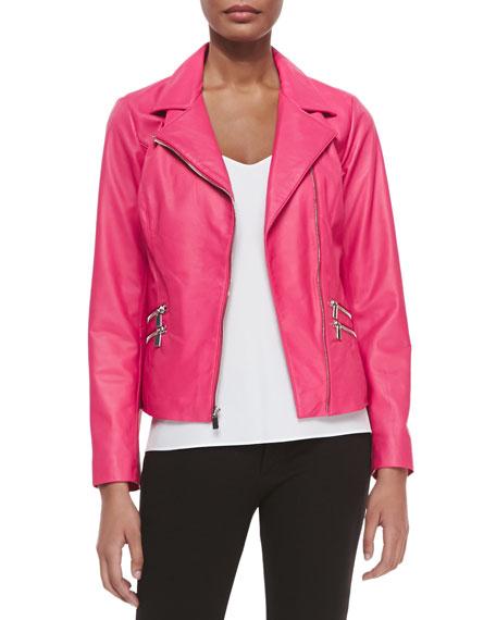 Neiman Marcus Leather Moto Jacket W/ Zip Pockets,