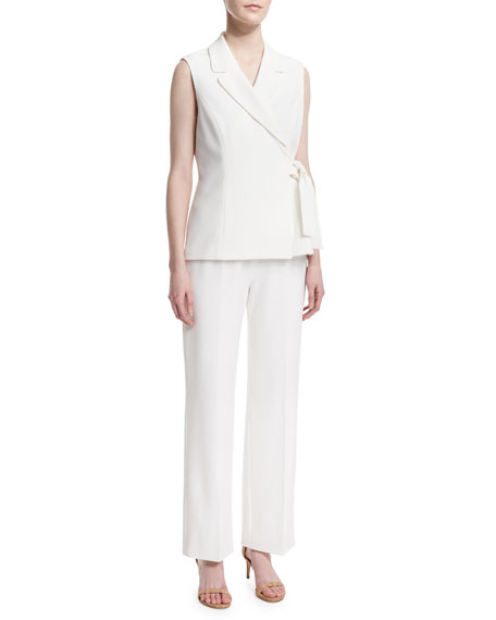 Albert Nipon Sleeveless Tie-Waist Pant Suit
