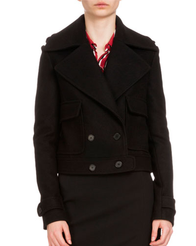 Cropped Double-Breasted Wool Jacket, Black