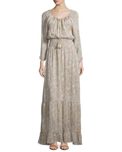 Elvaria Long-Sleeve Maxi Dress, Feather