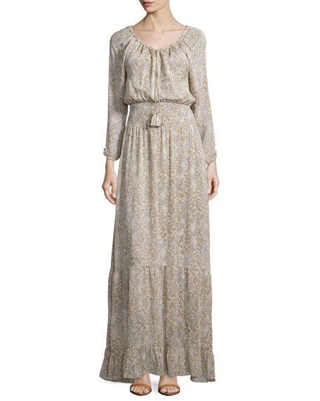 Calypso St Barth Elvaria Long-Sleeve Maxi Dress, Feather