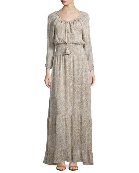 Calypso St Barth Elvaria Long-Sleeve Maxi Dress, Feather