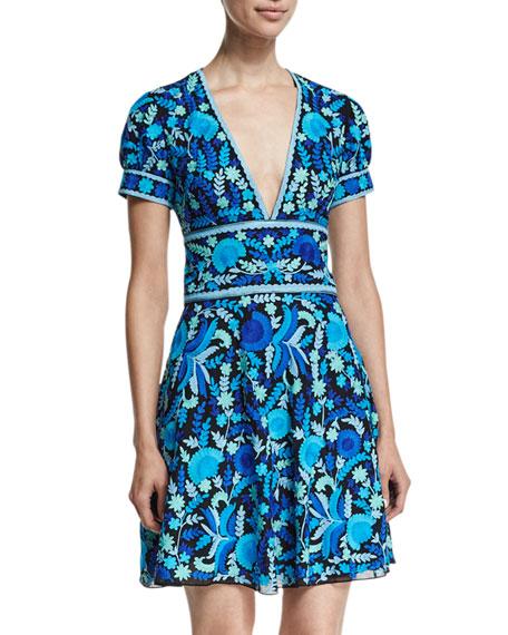 Short-Sleeve Floral-Print Open-Back Dress, Blue/Green/Multi