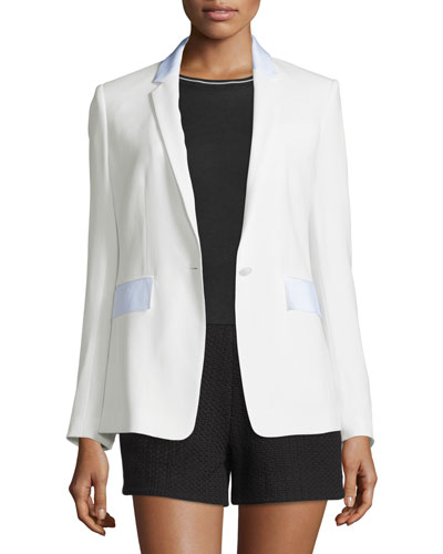 Windsor Crepe Contrast-Trim Blazer  White