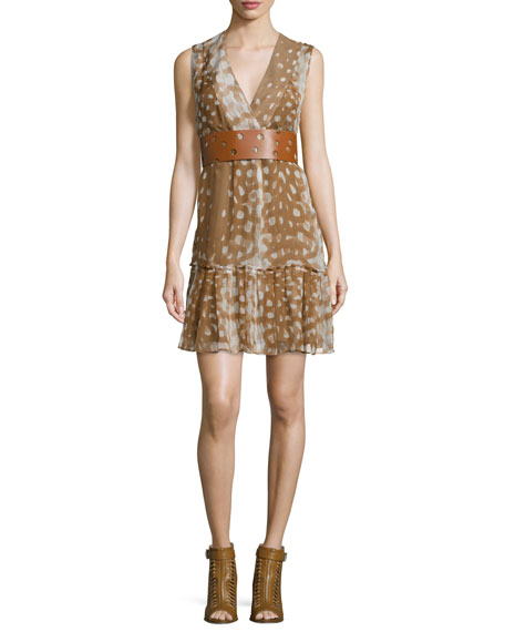 Agnona Sleeveless Ruffled-Hem Dress, Caramel/Multi