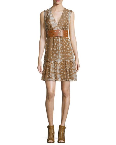 Sleeveless Ruffled-Hem Dress