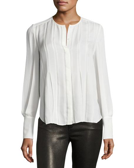 Vicky Pleated Silk Shirt