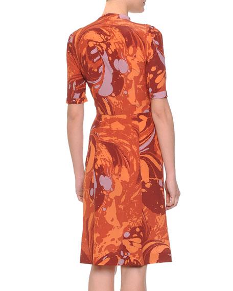 Shirred-Waist Tie-Neck Shirtdress, Arizona Orange Russe