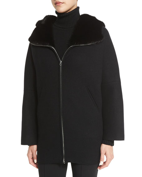 Fur-Lined Zip-Front Cashmere Jacket