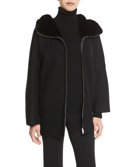 Agnona Fur-Lined Zip-Front Cashmere Jacket, Black