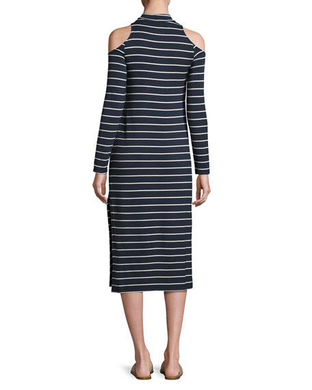 Envelope Dune Stripe Mock-Neck Cold-Shoulder Midi Dress, Navy/White