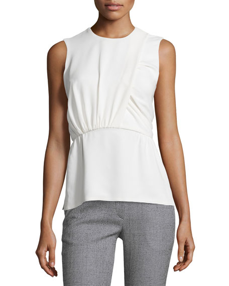 Sleeveless Ruched Peplum Top, White