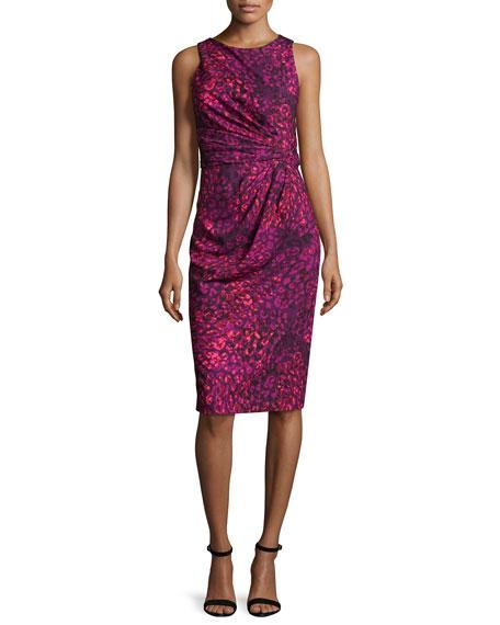 Badgley Mischka Sleeveless Printed Ruched Sheath Dress,
