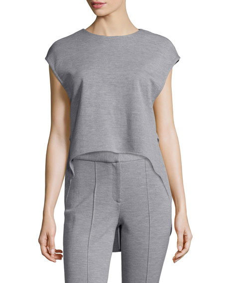 Adam Lippes Jewel-Neck High-Low Muscle Top, Light Gray