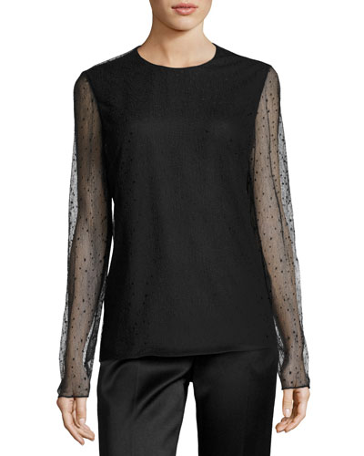 Raindrop Long-Sleeve Top, Black