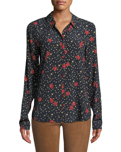 Evlyn Star-Print Button-Front Top
