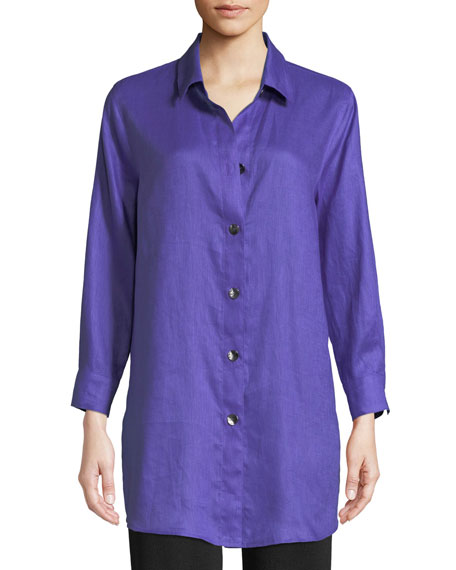Caroline Rose Tissue Linen Boyfriend Shirt, Petite and