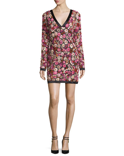 Long-Sleeve Floral-Embroidered V-Neck Dress, Pink