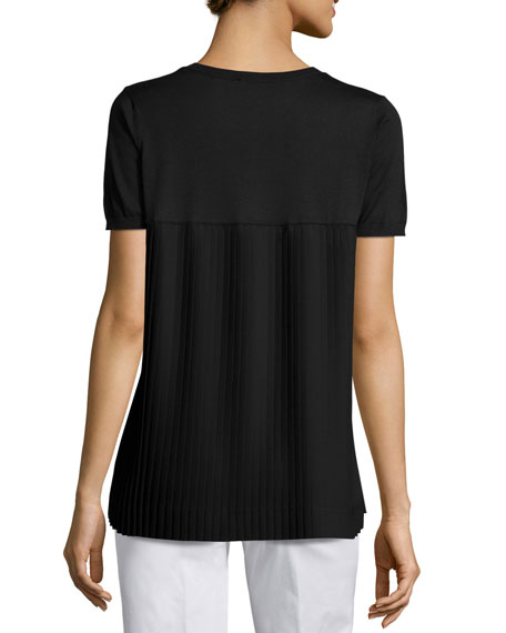 Pleated-Back Knit Top