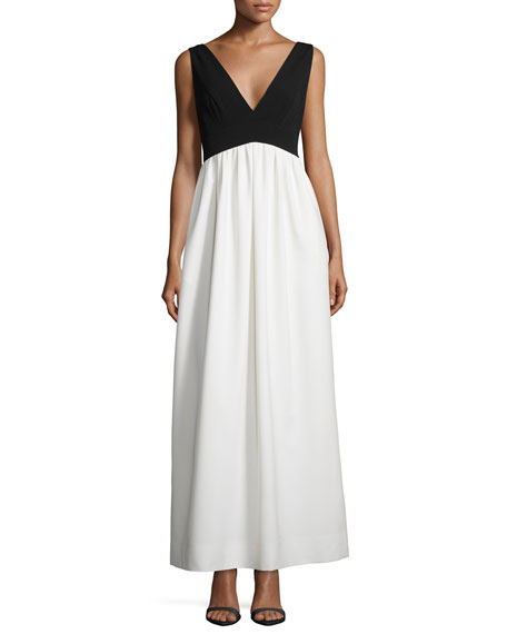 Jill Jill Stuart Sleeveless V-Neck Combo Crepe Gown