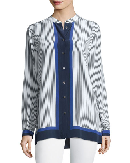 Equipment Fisher Striped Colorblock Shirt, Riviera Blue