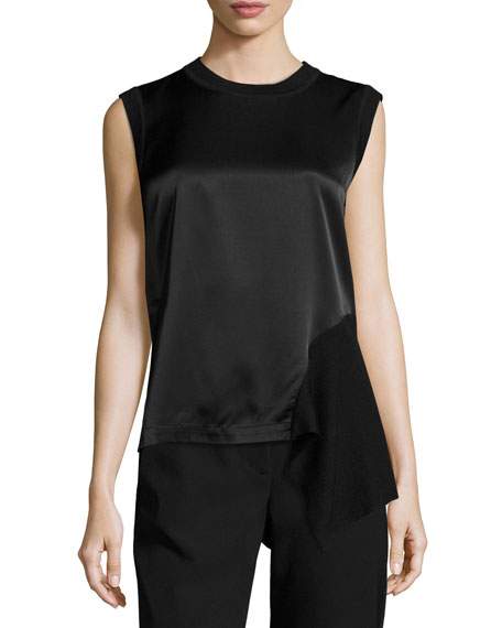 DKNY Sleeveless Mixed-Media Top