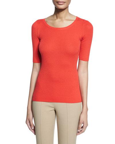 Half-Sleeve Round-Neck Cashmere Top, Coral