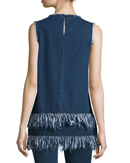 Sleeveless Frayed-Hem Tunic, Mid Blue