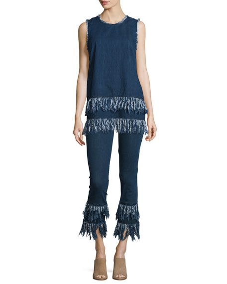 Sleeveless Frayed-Hem Tunic, Mid Blue