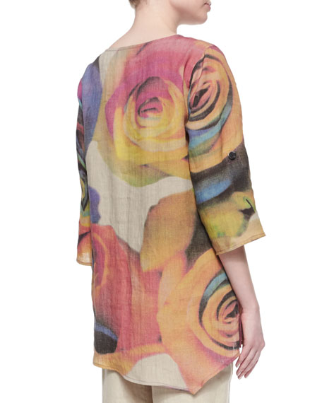 Big Rose-Print Linen Tunic, Plus Size