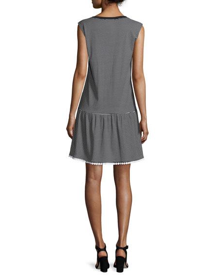Cap-Sleeve Striped Ruffle-Hem Dress, Stripe