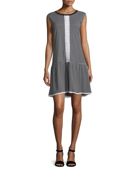 NICHOLAS Cap-Sleeve Striped Ruffle-Hem Dress, Stripe