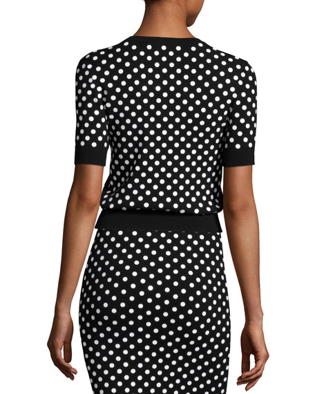 Polka-Dot Short-Sleeve Crewneck Sweater, Black/White