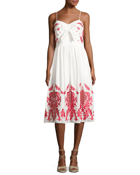 Red Carter Sage Embroidered Cotton Sundress