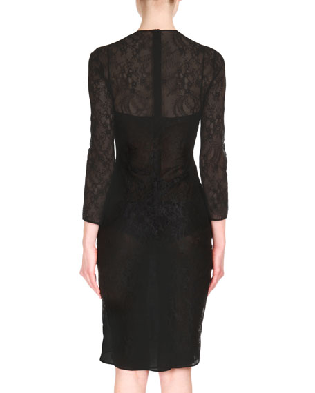 Semisheer Lace Sheath Dress