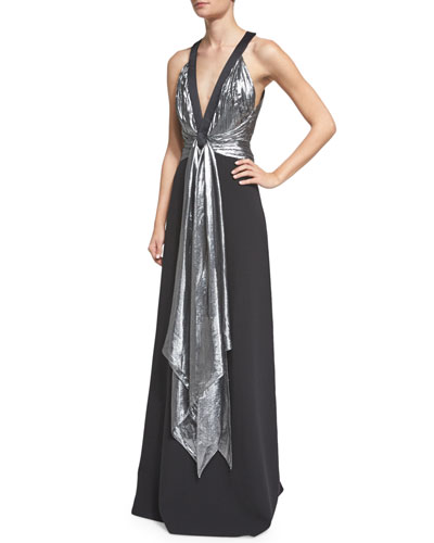 Sleeveless Draped-Front Gown, Black